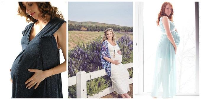 kobiety w ciązy w kolorowych sukienkach