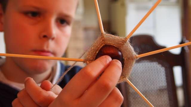 dziecko bawiące się kasztanem