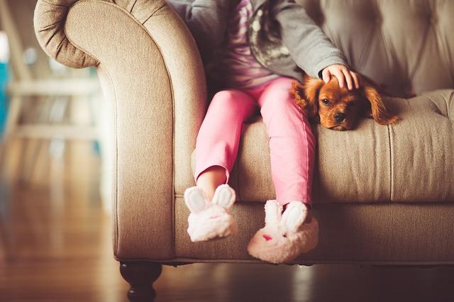 Dziewczynka z psem na kanapie